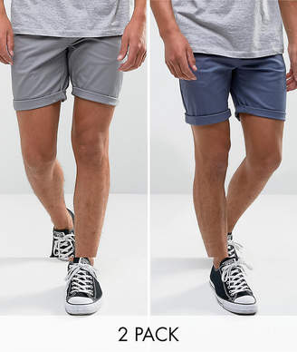 Asos Design 2 Pack Slim Chino Shorts In Grey & Blue Save