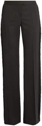Stella McCartney Fringed-trim wide-leg wool trousers