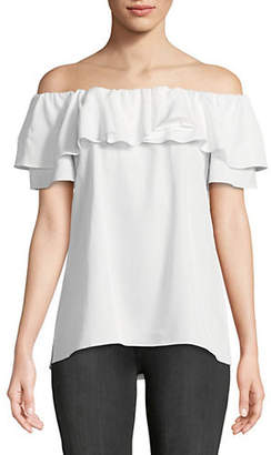 Halston H Frilled Off-The-Shoulder Top
