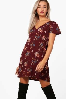 boohoo V Neck Floral Shift Dress