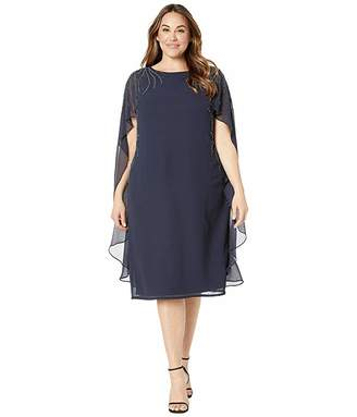 Adrianna Papell Plus Size Beaded Georgette Cape Back Cocktail Dress