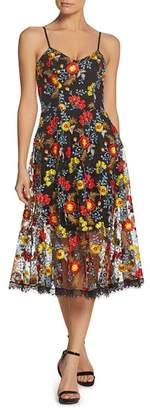 Dress the Population Uma Embroidered Midi Dress