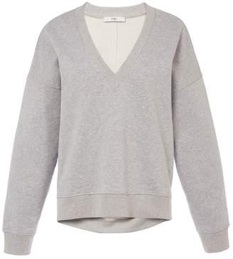 Tibi V-Neck Draped Back Sweatshirt