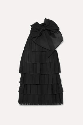 Balmain Bow-embellished Pleated Knitted Mini Dress - Black