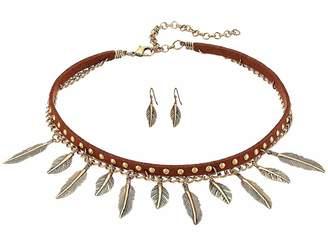 M&F Western 2 Layer Dangle Feather Choker/Earrings Set