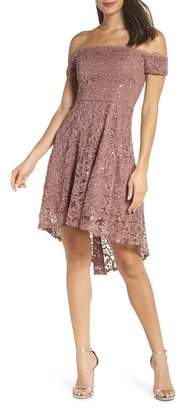 Sequin Hearts Off the Shoulder Sequin Lace Cocktail Dress