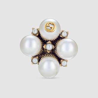 Gucci Textured ring with glass pearl buds