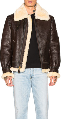 Schott B-3 Sheepskin Leather Bomber Jacket in Brown | FWRD