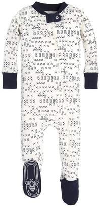 Burt's Bees Cross Stitched Organic Baby Zip Up Footed Pajamas