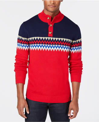 Club Room Men's Fair Isle Colorblocked Mock-Collar Sweater, Created for Macy's