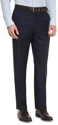 Brioni Phi Flat-Front Wool Trousers, Navy