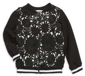 Milly Minis Little Girl's& Girl's Floral Applique Bomber Jacket