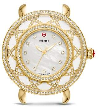 Michele Lace Cloette White Mother-of-Pearl Dial & Diamond Bezel Watch, 38mm