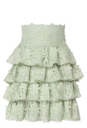 Costarellos Ruffled Silk-Chiffon Mini Skirt