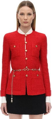Gucci BELTED COTTON BLEND BOUCLE JACKET