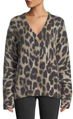 360 Sweater 360Sweater Geraldine V-Neck Long-Sleeve Leopard-Intarsia Cashmere Sweater