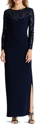 Women's Lauren Ralph Lauren Sequin Mesh & Jersey Gown $210 thestylecure.com