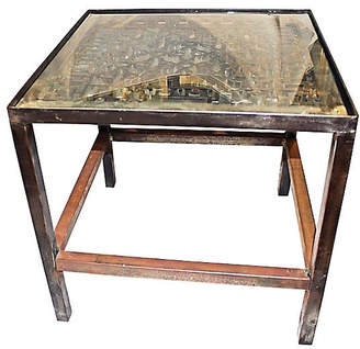 One Kings Lane Vintage Polished Industrial Steel Side Table - House of Charm Antiques