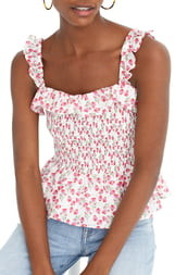 J.Crew Liberty(R) Rose Floral Smocked Ruffle Top