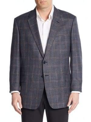 Armani Collezioni Windowpane Silk & Wool Sportcoat