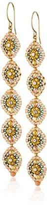 Miguel Ases Long Drop Pink Coral Drop Earrings