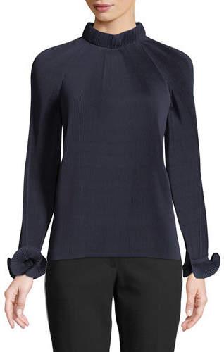 Mock-Neck Long-Sleeve Pleated Top