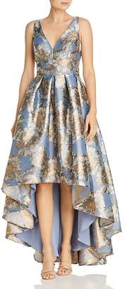 Eliza J Floral Print Flared High/Low Gown