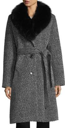 Sofia Cashmere Fox Shawl-Collar Belted Three-Button Alpaca Boucle Coat