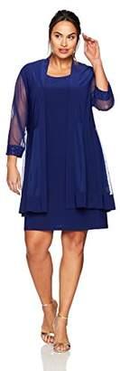 R & M Richards R&M Richards Women's Plus Size Glitter Trim Jacket Dress