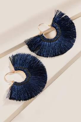 francesca's Perla Burst Tassel Statement Earrings - Navy