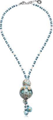Antica Murrina Veneziana Papaya 3 Light Blue Pendant Necklace w/Pastel Murano Glass Beads