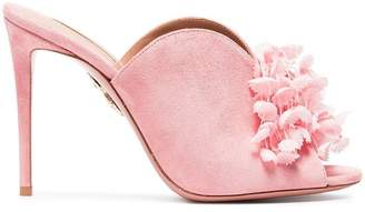 Aquazzura Pink Lily Of The Valley 105 suede mules