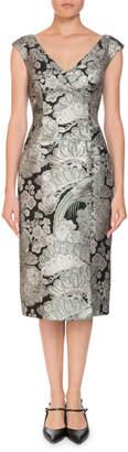 Erdem Jyoti Off-the-Shoulder V-Neck Jacquard Cocktail Dress