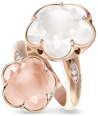 Pasquale Bruni 18K Rose Gold Wrap Ring with Milky Quartz, Rose Quartz and Diamonds