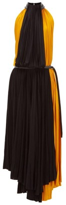 Proenza Schouler Panelled Pleated Jersey Midi Dress - Womens - Black Yellow