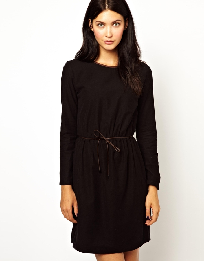 Sessun Black Shift Dress with Leather Binding and Belt