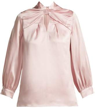 Erdem Zadie Silk Satin Blouse - Womens - Pink