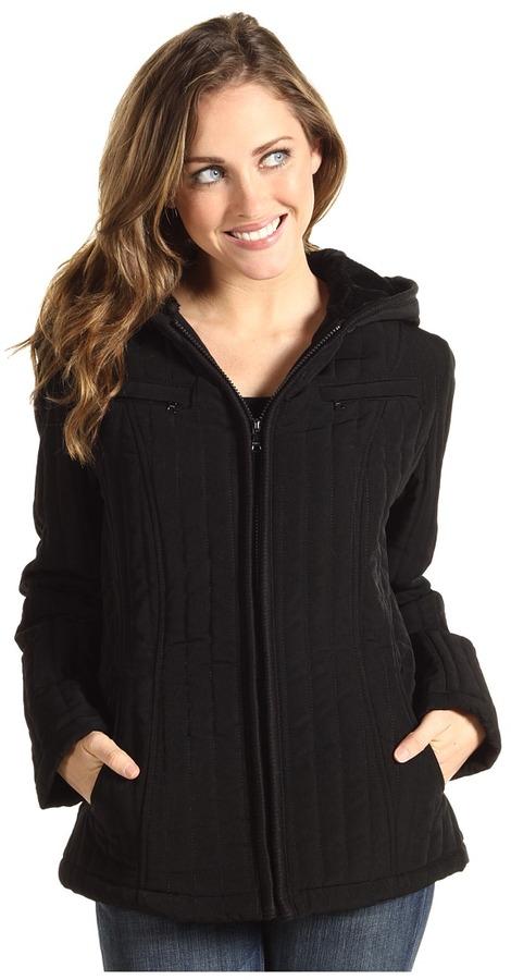 Esprit Hooded Zip Front Mini Jacket (Black) - Apparel