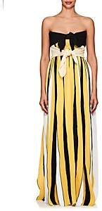 Derek Lam Women's Accordion-Pleated Crepe Strapless Gown - Yellow