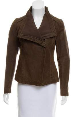 Nicole Miller Rib Knit Trimmed Suede Jacket