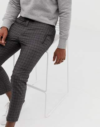 New Look skinny fit smart sweatpants in gray check