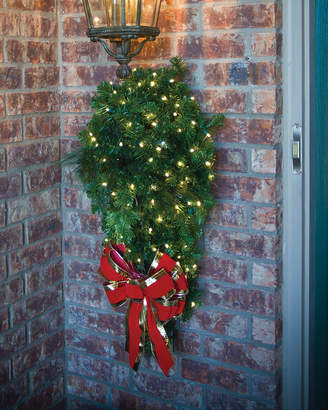 Door Spray Christmas Decoration with LED Lights & Bow