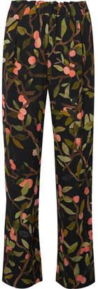 Stine Goya Vinnie Printed Georgette Straight-leg Pants - Black