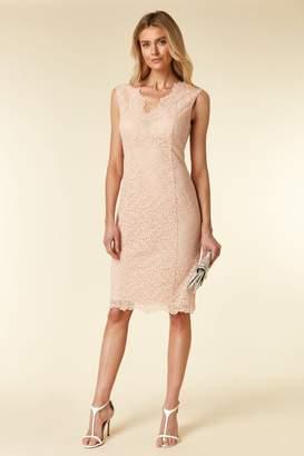 Wallis Womens Pink Blush Lace Scallop V-Neck Shift Dress - Pink