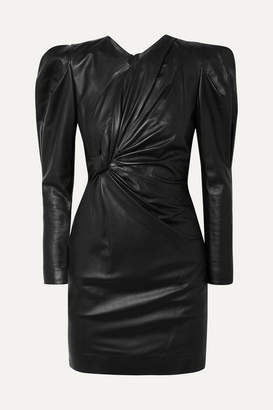 Isabel Marant Cobe Twisted Leather Mini Dress - Black