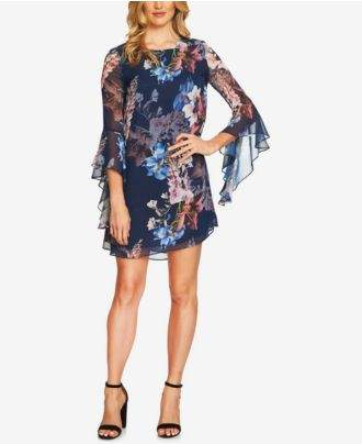 CeCe Ashley Bell-Sleeve Shift Dress