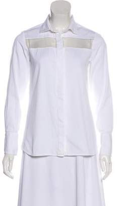 Valentino Sheer-Paneled Long Sleeve Top