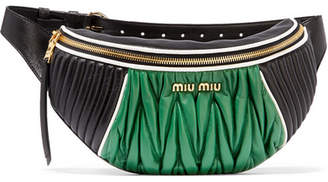 Miu Miu Color-block Quilted And Matelassé Leather Belt Bag - Black