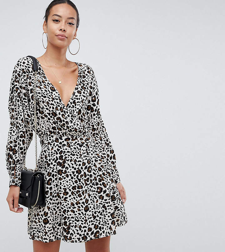 ASOS Tall ASOS DESIGN TALL Wrap casual mini dress in leopard print
