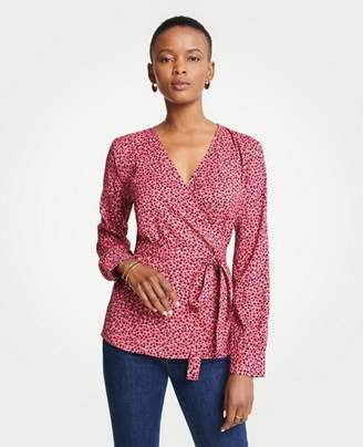 Ann Taylor Geo Dot Belted Wrap Top
